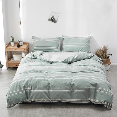 2018新款-30支全棉加厚水洗棉印花加绣花四件套 三件套1.2m(4英尺)床 若青横条