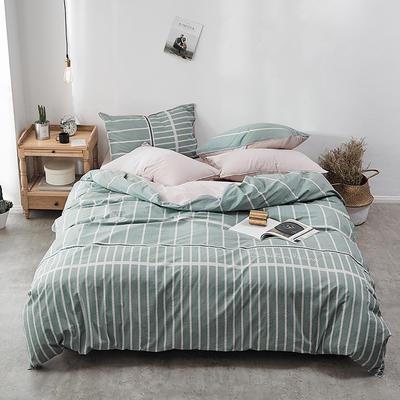 2018新款-30支全棉加厚水洗棉印花加绣花四件套 三件套1.2m(4英尺)床 若青竖条