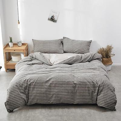 2018新款-30支全棉加厚水洗棉印花加绣花四件套 三件套1.2m(4英尺)床 水影咖