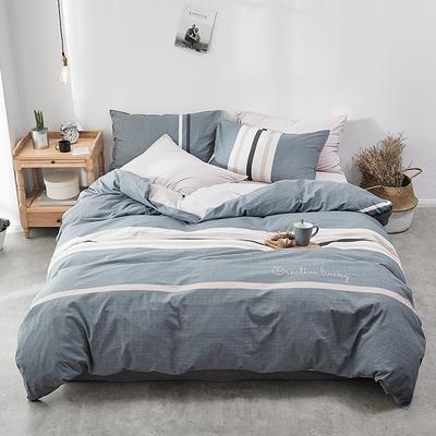 2018新款-30支全棉加厚水洗棉印花加绣花四件套 三件套1.2m(4英尺)床 雾蓝