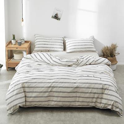 2018新款-30支全棉加厚水洗棉印花加绣花四件套 三件套1.2m(4英尺)床 云影白