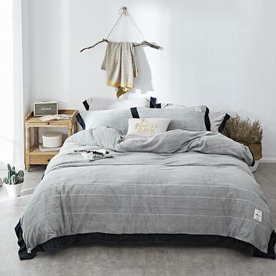 2018新款-臻棉绒工艺款四件套 三件套1.2m(4英尺)床 爱诺-灰绿