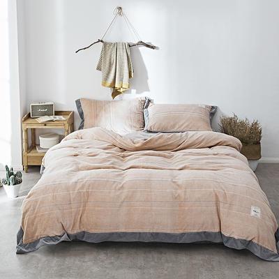 2018新款-臻棉绒工艺款四件套 三件套1.2m(4英尺)床 爱诺-咖