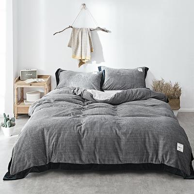2018新款-臻棉绒工艺款四件套 三件套1.2m(4英尺)床 克瑞斯-深灰