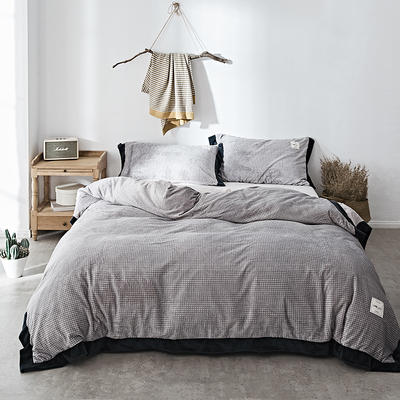 2018新款-臻棉绒工艺款四件套 三件套1.2m(4英尺)床 克瑞斯-银灰