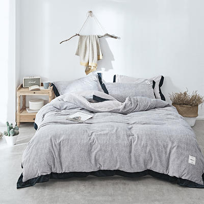 2018新款-臻棉绒工艺款四件套 三件套1.2m(4英尺)床 西娅-灰