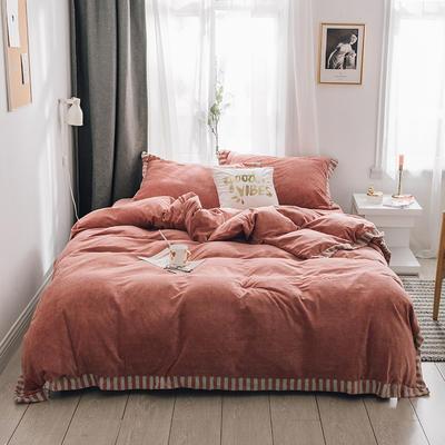 2018新款-素织绒四件套 三件套1.2m(4英尺)床 素色桔
