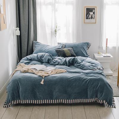 2018新款-素织绒四件套 三件套1.2m(4英尺)床 素色蓝