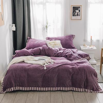 2018新款-素织绒四件套 三件套1.2m(4英尺)床 素色紫