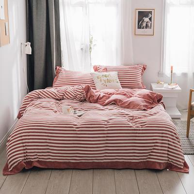 2018新款-素织绒四件套 三件套1.2m(4英尺)床 条纹红