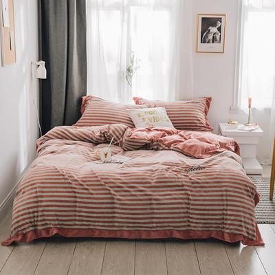 2018新款-素织绒四件套 三件套1.2m(4英尺)床 条纹桔