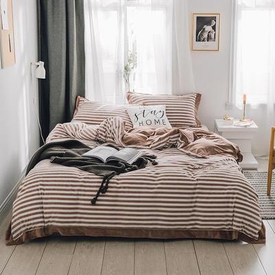 2018新款-素织绒四件套 三件套1.2m(4英尺)床 条纹咖