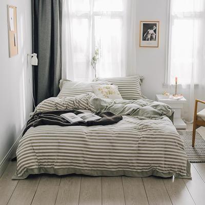 2018新款-素织绒四件套 三件套1.2m(4英尺)床 条纹卡其