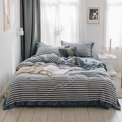 2018新款-素织绒四件套 三件套1.2m(4英尺)床 条纹蓝白