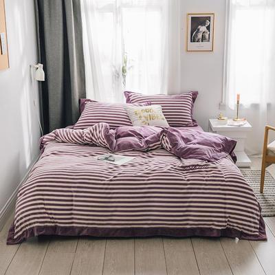 2018新款-素织绒四件套 三件套1.2m(4英尺)床 条纹紫