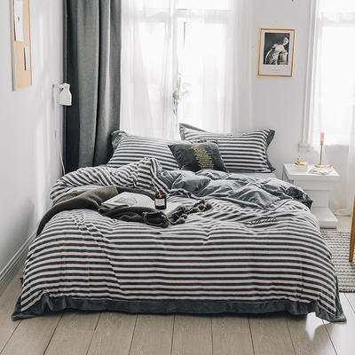 2018新款-素织绒四件套 1.5m(5英尺)床 条纹蓝灰