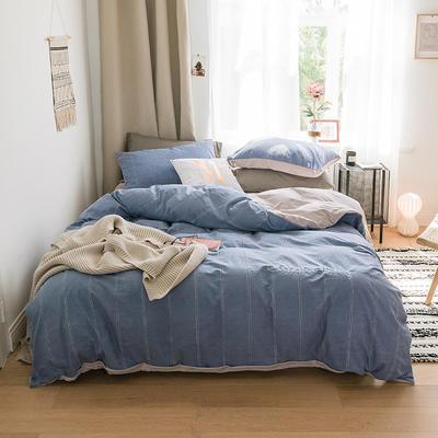 2018新款-30支加厚水洗棉印加绣花拼宝宝绒保暖四件套 三件套1.2m(4英尺)床 牛仔蓝
