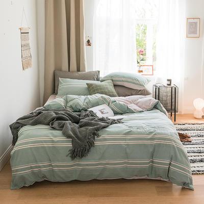 2018新款-30支加厚水洗棉印加绣花拼宝宝绒保暖四件套 三件套1.2m(4英尺)床 若青横条