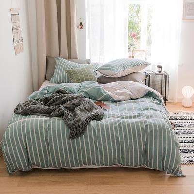 2018新款-30支加厚水洗棉印加绣花拼宝宝绒保暖四件套 三件套1.2m(4英尺)床 若青竖条