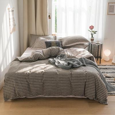 2018新款-30支加厚水洗棉印加绣花拼宝宝绒保暖四件套 三件套1.2m(4英尺)床 水影咖
