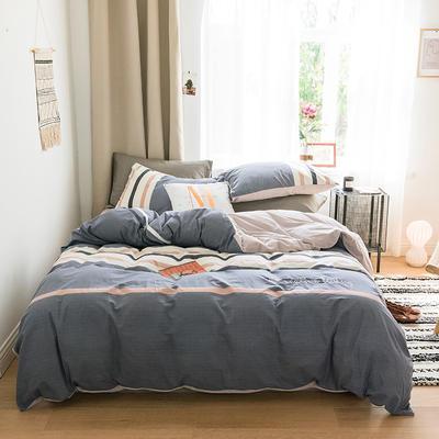 2018新款-30支加厚水洗棉印加绣花拼宝宝绒保暖四件套 三件套1.2m(4英尺)床 雾蓝