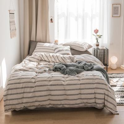 2018新款-30支加厚水洗棉印加绣花拼宝宝绒保暖四件套 三件套1.2m(4英尺)床 云影白