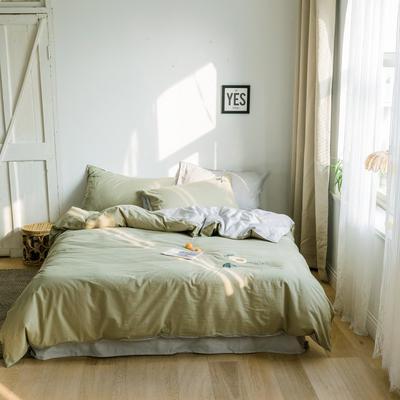 2019新款-绣花系列四件套 床笠款三件套1.2m(4英尺)床 梵星绿