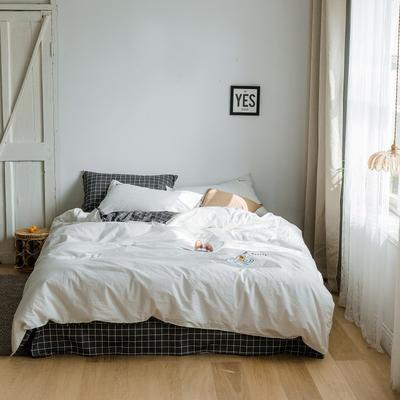 2019新款-绣花系列四件套 床笠款三件套1.2m(4英尺)床 贵族白