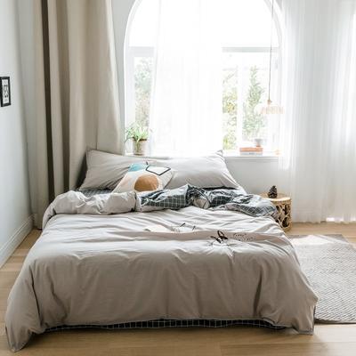 2019新款-绣花系列四件套 床笠款三件套1.2m(4英尺)床 摩颜咖
