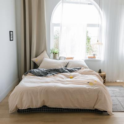 2019新款-绣花系列四件套 床笠款三件套1.2m(4英尺)床 柠檬黄