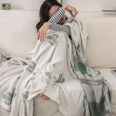 2019新款-全棉纱布提花竹纤维盖毯(不带流苏边) 150*200cm 奥利