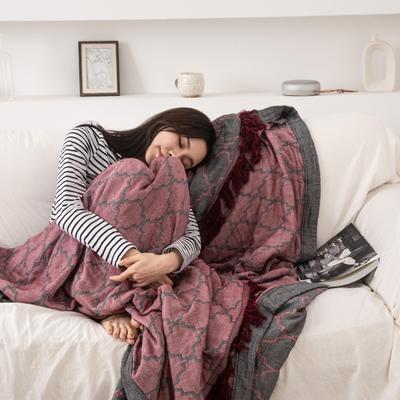 2019新款-全棉纱布提花竹纤维盖毯(带流苏边) 150*200cm 菱形格-红