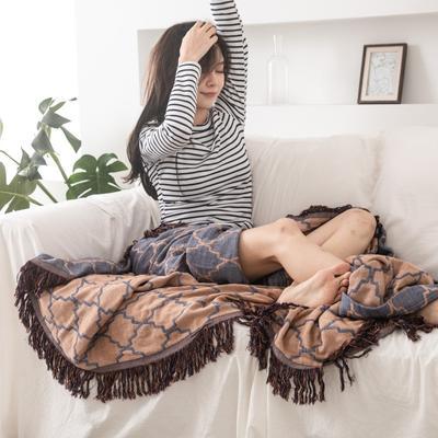 2019新款-全棉纱布提花竹纤维盖毯(带流苏边) 150*200cm 菱形格-咖