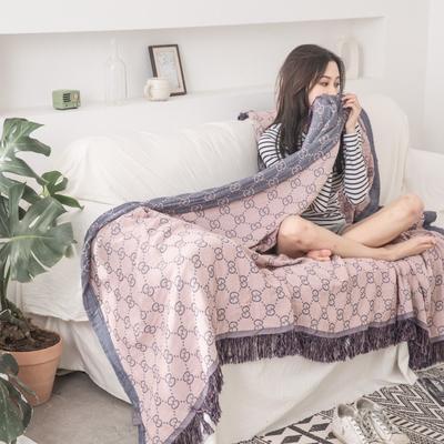 2019新款-全棉纱布提花竹纤维盖毯(带流苏边) 150*200cm 莫尼-粉