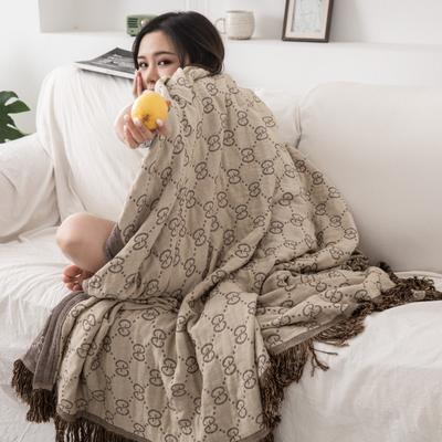 2019新款-全棉纱布提花竹纤维盖毯(带流苏边) 150*200cm 莫尼-卡其