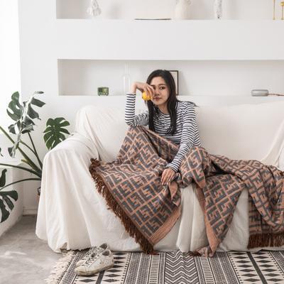2019新款-全棉纱布提花竹纤维盖毯(带流苏边) 150*200cm 韵格