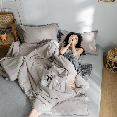 2019新款-全棉水洗棉绣花夏被 150x200cm 摩颜咖