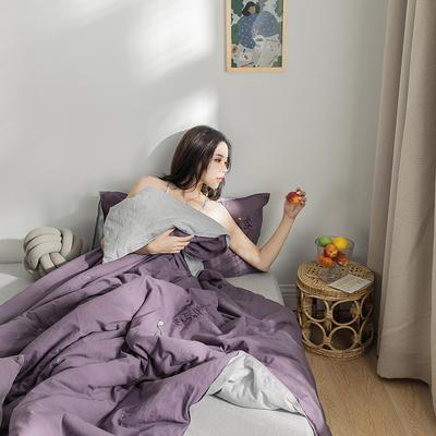 2019新款-全棉水洗棉绣花夏被 150x200cm 千黛紫