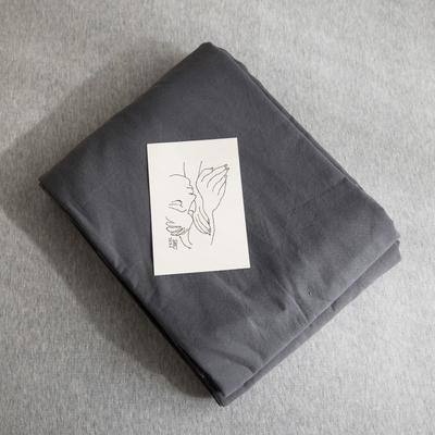 2019新款纯色绣花水洗棉-单品被套 150x200cm 暮光-黑
