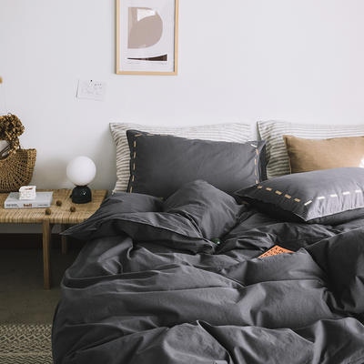 2019新款纯色绣花水洗棉-单品床单 245cmx250cm 暮光-黑