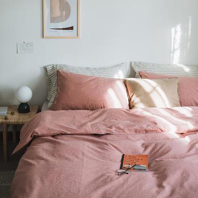 2019新款纯色绣花水洗棉-单品床单 245cmx250cm 暮光-红