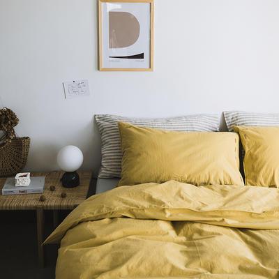 2019新款纯色绣花水洗棉-单品床单 245cmx250cm 暮光-黄
