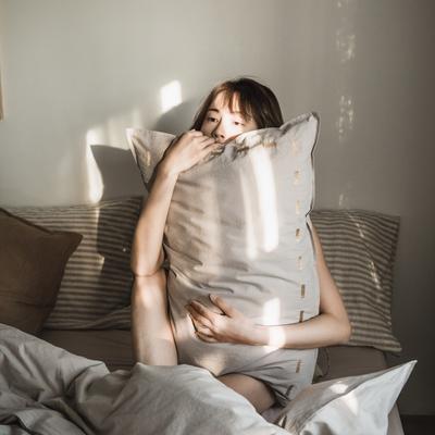 2019新款纯色绣花水洗棉-单品枕套 48cmX74cm/个 暮光-咖