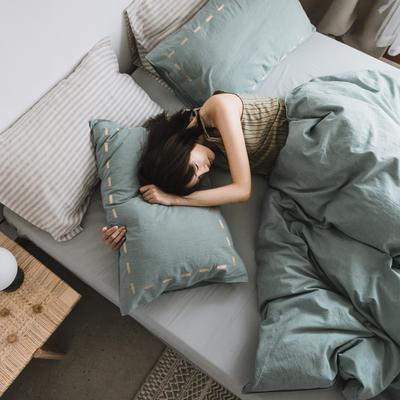 2019新款纯色绣花水洗棉-单品枕套 48cmX74cm/个 暮光-绿