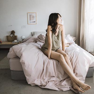 2019新款-纯色绣花水洗棉四件套 床单款三件套1.2m(4英尺)床 暮光-粉
