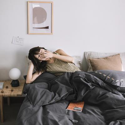 2019新款-纯色绣花水洗棉四件套 床单款三件套1.2m(4英尺)床 暮光-黑