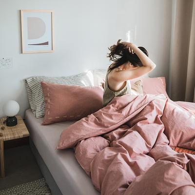 2019新款-纯色绣花水洗棉四件套 床单款三件套1.2m(4英尺)床 暮光-红