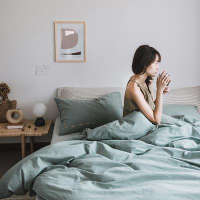2019新款-纯色绣花水洗棉四件套 床单款三件套1.2m(4英尺)床 暮光-绿