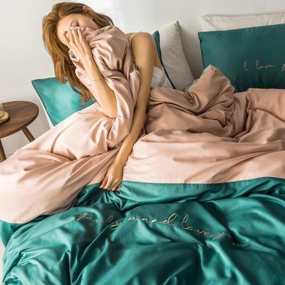 2019新款-天丝绸拼色绣花四件套 床单款1.5m(5英尺)床 玛琳