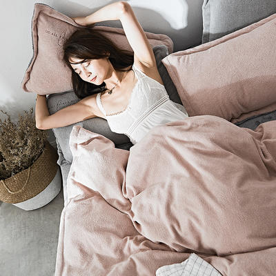 2019新款-海藻绒绣花保暖四件套 床单款三件套1.2m(4英尺)床 茶粉